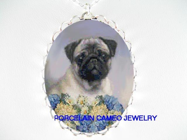 SWEET PUG DOG HYDRANGEA DAISY PORCELAIN CAMEO NECKLACE