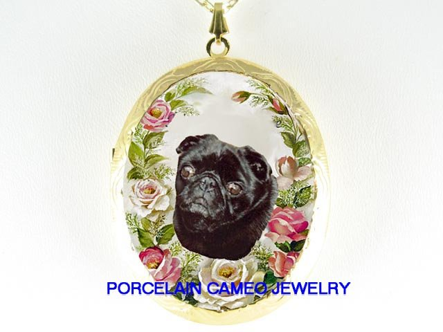 BLACK PUG DOG PINK ROSE PORCELAIN CAMEO LOCKET NECKLACE