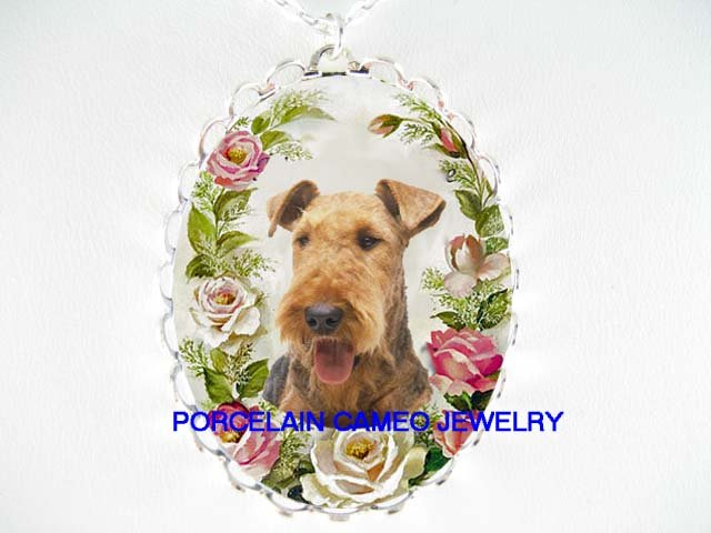 AIREDALE TERRIER DOG PINK ROSE PORCELAIN CAMEO NECKLACE