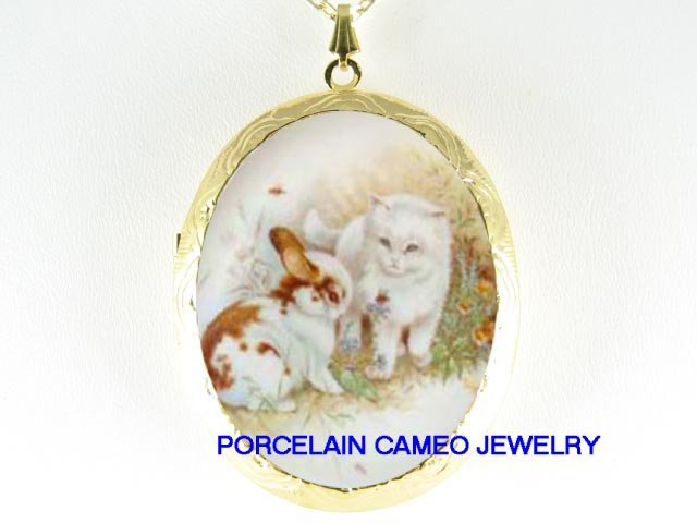 BUNNY RABBIT WHITE KITTY CAT PORCELAIN CAMEO LOCKET NECKLACE