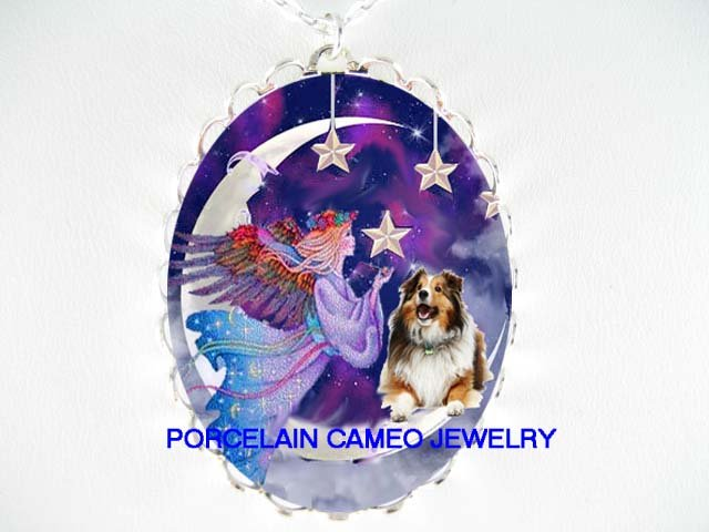 ANGEL SHELTIE DOG MOON STAR PORCELAIN CAMEO NECKLACE