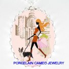 SHOPPING GIRL WALKING BOSTON TERRIER DOG CAMEO NECKLACE