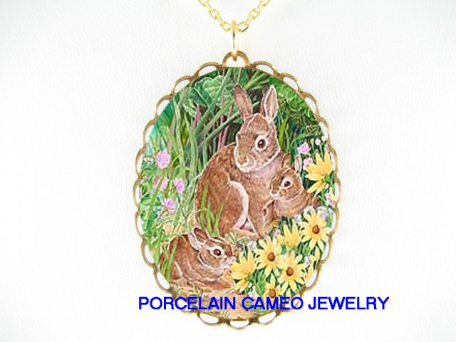 RABBIT BUNNY MOM 2 BABY IN FIELD PORCELAIN CAMEO NECKLACE