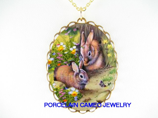 2 RABBIT BUNNY CHASE BUTTERFLY CAMEO PORCELAIN NECKLACE
