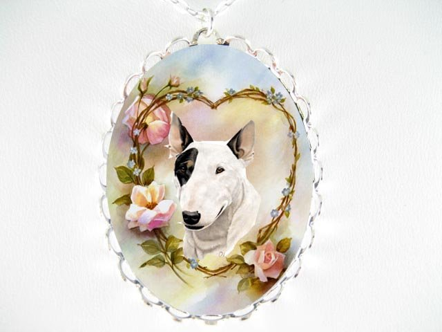 BULL TERRIER FORGETMENOT ROSE PORCELAIN CAMEO NECKLACE