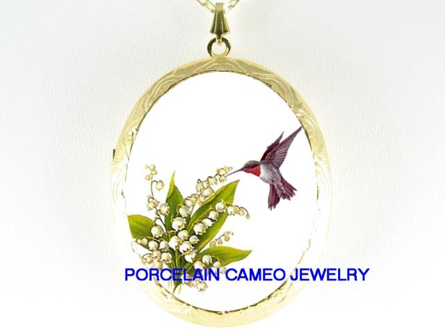 HUMMINGBIRD LILY OF THE VALLEY PORCELAIN CAMEO LOCKET