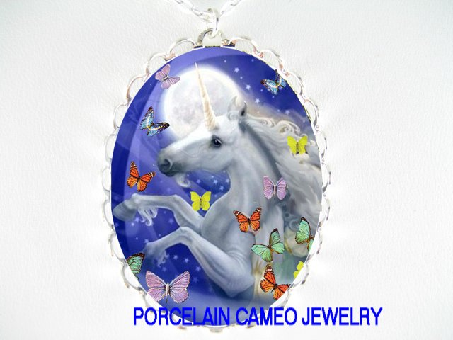 UNICORN HORSE BUTTERFLYY MOON PORCELAIN CAMEO NECKLACE