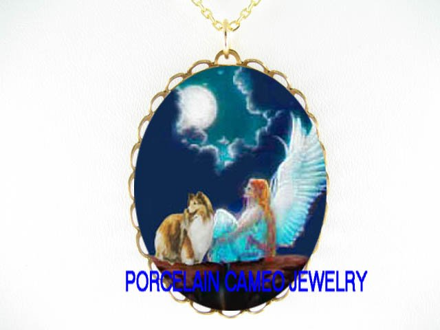 ANGEL SHELTIE SHEEPDOG MOON CAMEO PORCELAIN NECKLACE