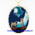 ANGEL WITH PUG DOG MOON CAMEO PORCELAIN NECKLACE