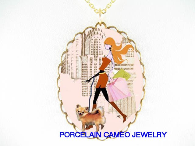 SHOPPING LADY WALKING LONG HAIR CHIHUAHUA DOG NECKALCE