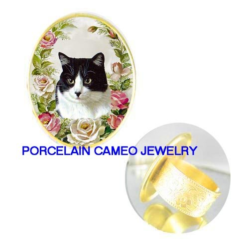 BLACK WHITE CAT PINK ROSE PORCELAIN CAMEO ADJ RING 5-9