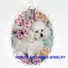 WHITE POODLE DOG WITH LILY PINK FLOWER CAMEO NECKLACE