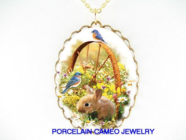 RABBIT BUNNY WITH 2 BLUE BIRD WILD DAISY FLOWER* CAMEO PORCELAIN NECKLACE