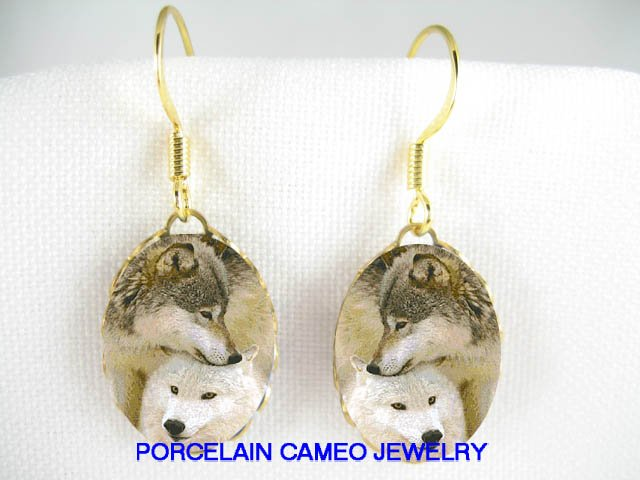2 CUDDLING GREY WOLF WOLVES PORCELAIN CAMEO EARRINGS