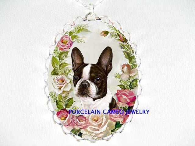 BOSTON TERRIER DOG PINK ROSE PORCELAIN CAMEO NECKLACE