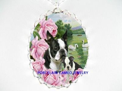 BOSTON TERRIER DOG MOM PUPPY CAMEO PORCELAIN NECKLACE