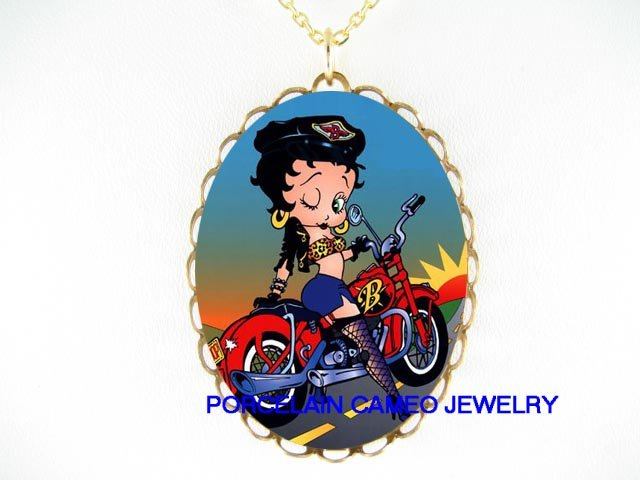 BETTY BOOP ON MOTORCYCLE BIKE PORCELAIN CAMEO NECKLACE
