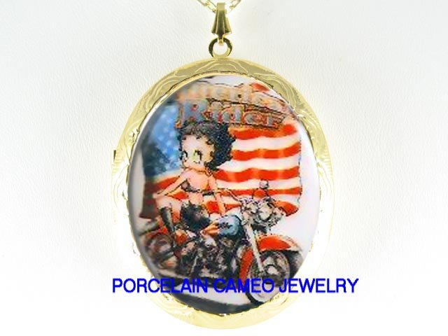 BETTY BOOP MOTORCYCLE BIKE FLAG PORCELAIN CAMEO LOCKET