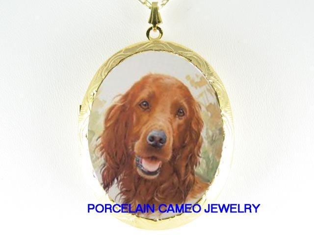 SMILE IRISH SETTER DOG CAMEO PORCELAIN LOCKET NECKLACE