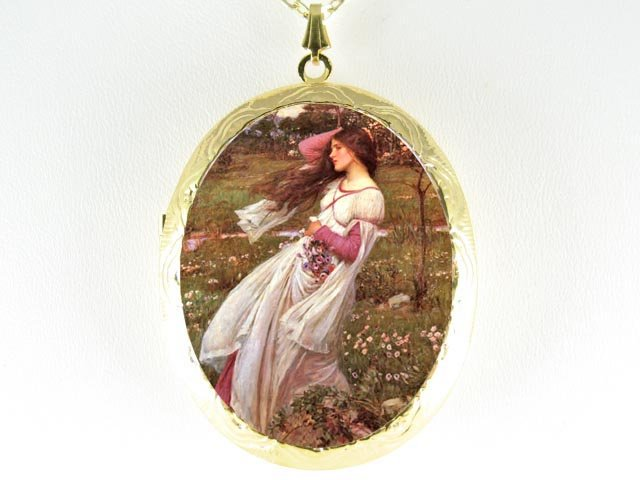 JOHN WATERHOUSE LADY IN THE WIND *  CAMEO PORCELAIN LOCKET NECKLACE