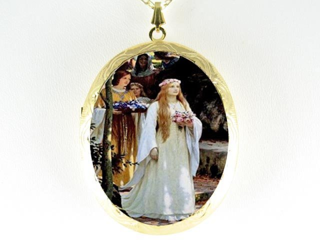 JOHN WATERHOUSE ROSE PRINCESS CAMEO PORCELAIN LOCKET