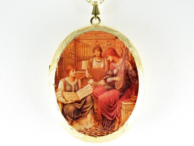 JOHN WATERHOUSE 3 LADY SISTERS PLAY MUSIC CAMEO LOCKET