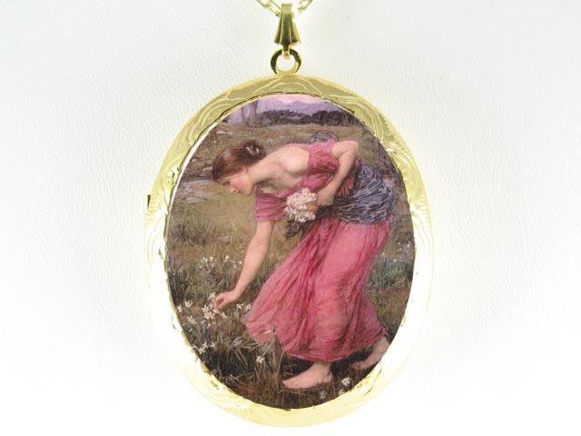 JOHN WATERHOUSE PINK LADY PICKING FLOWER CAMEO LOCKET