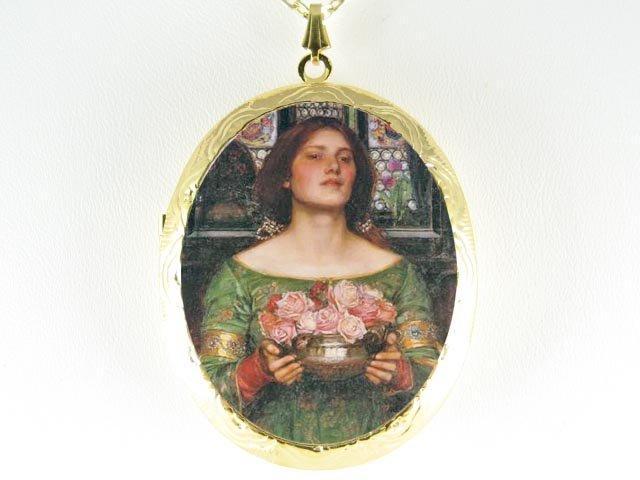 JOHN WATERHOUSE LADY CARRY ROSE CAMEO PORCELAIN LOCKET