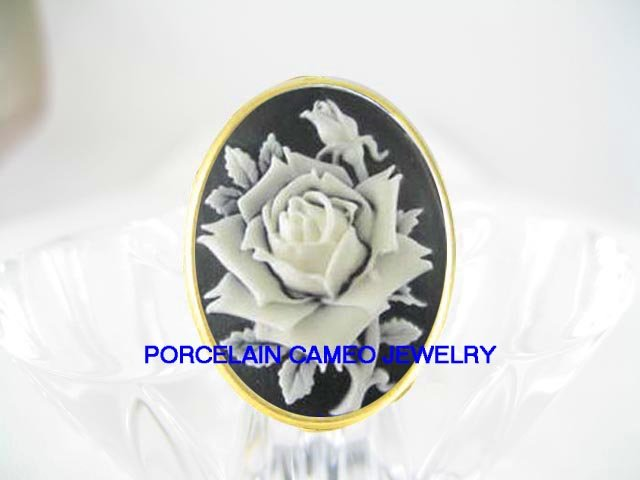 VICTORIAN BLACK WHITE ENGLISH OPEN ROSE*VINTAGE CAMEO ADJ RING 5-9