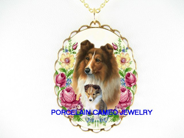 SHELTIE DOG DOG MOM CUDDLE PUPPY ROSE CAMEO NECKLACE