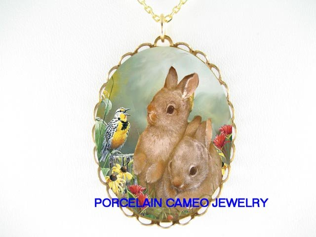 2 RABBIT BUNNY WITH SONGBIRD PORCELAIN CAMEO NECKLACE