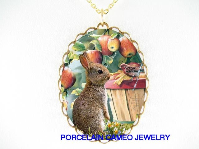 RABBIT BUNNY WITH BIRD AND APPLE PORCELAIN CAMEO NECKLAC