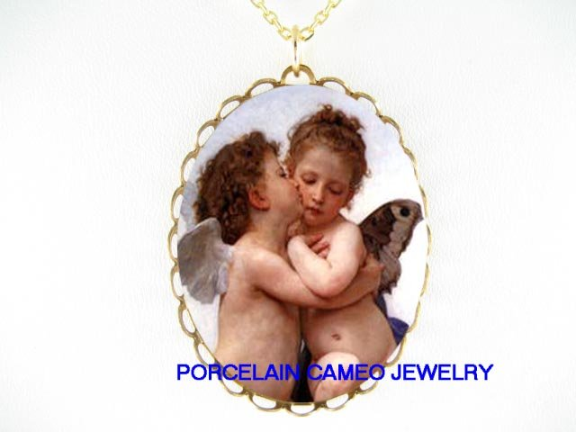 2 KISSING ANGEL CHERUB PORCELAIN CAMEO PENDANT NECKLACE