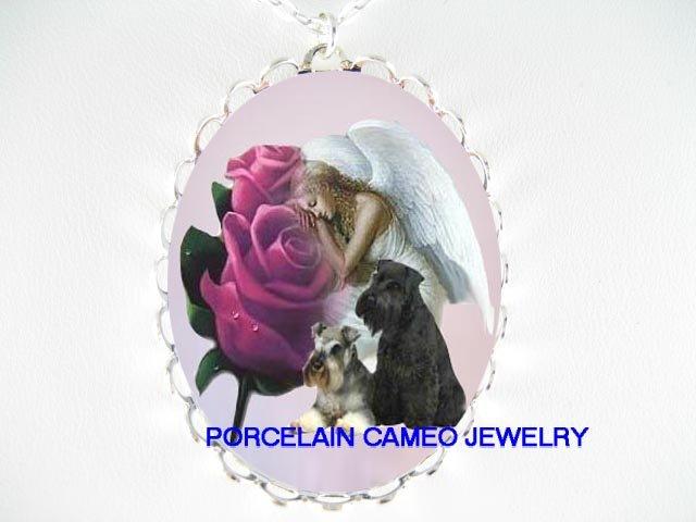 2 SCHNAUZER DOG ROSE ANGEL PORCELAIN CAMEO NECKLACE