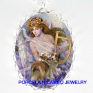 2 KISSING SHELTIE DOG ANGEL CAMEO PORCELAIN NECKLACE