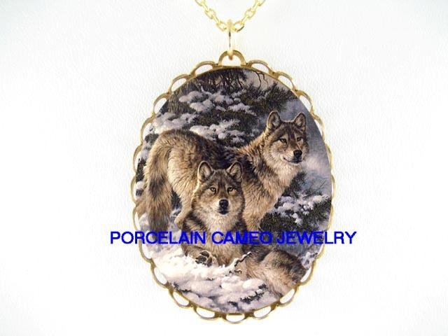 2 GREY WOLF CUDDLE SNOW FOREST CAMEO PORCELAIN NECKLACE