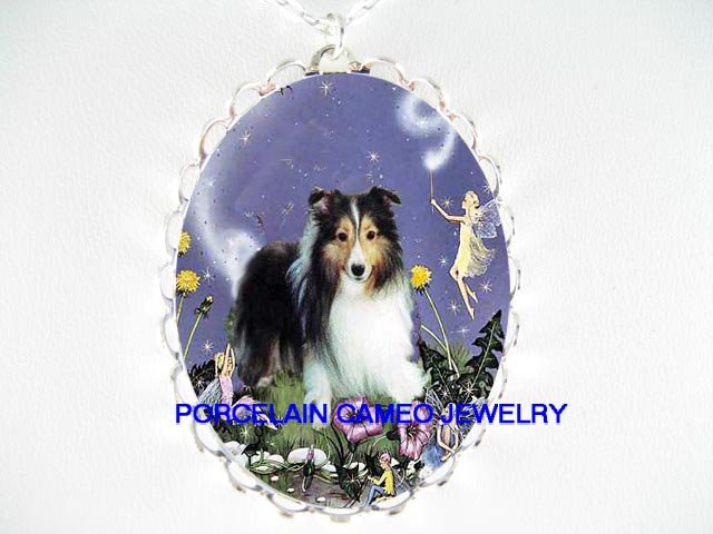 SHELTIE SHEEPDOG WITH BUBBLE FAIRY* CAMEO PORCELAIN NECKLACE
