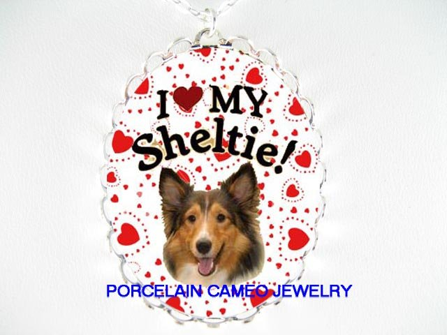 I LOVE SHELTIE DOG LOVE HEART PORCELAIN CAMEO NECKLACE