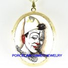 BOZO THE CLOWN  PORCELAIN CAMEO LOCKET NECKLACE