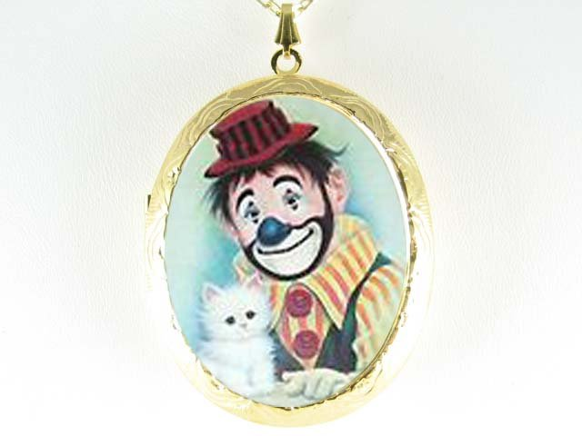CLOWN WHITE KITTY CAT PORCELAIN CAMEO LOCKET NECKLACE
