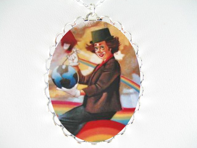 WOMAN CLOWN WITH RAINBOW PORCELAIN CAMEO  NECKLACE