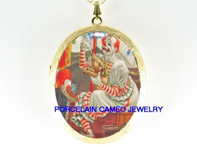 CIRCUS CLOWN WITH PIGGY PORCELAIN CAMEO LOCKET NECKLACE