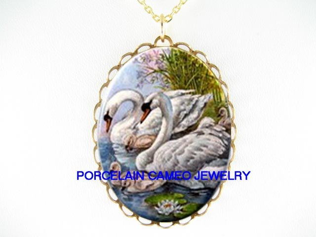 SWAN FAMILY WATER LILY * CAMEO PORCELAIN NECKLACE