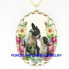 BOSTON TERRIER DOG MOM KISSING BABY ROSE CAMEO NECKLACE