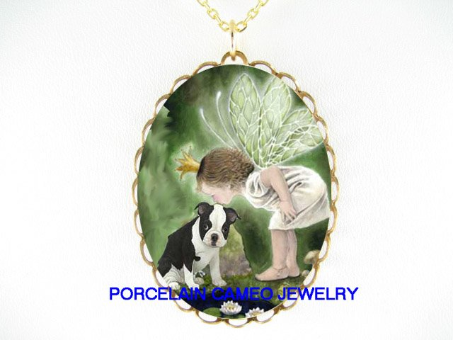 DRAGONFLY PRINCESS KISSING BOSTON TERRIER DOG* CAMEO PORCELAIN NECKLACE