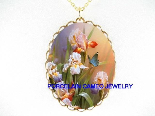 BLUE BUTTERFLY WITH IRIS* CAMEO PORCELAIN NECKLACE