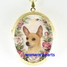 SMOOTH CHIHUAHUA DOG PINK ROSE * CAMEO PORCELAIN LOCKET NECKLACE