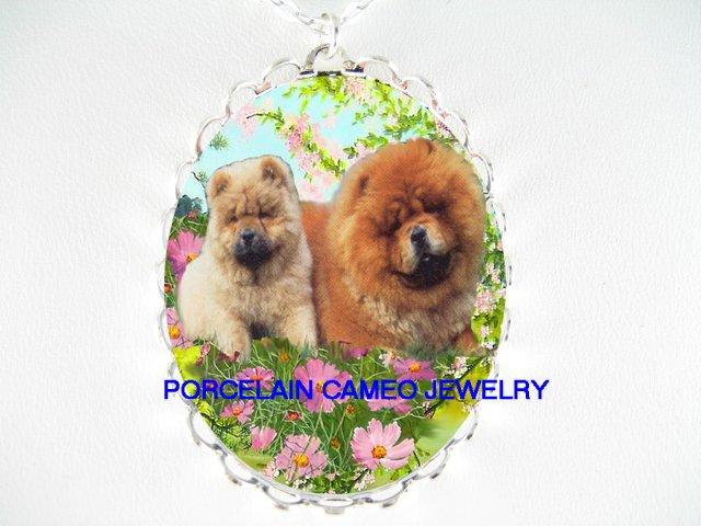 CHOW CHOW DOG MOM PUPPY CHERRY BLOSSOM CAMEO NECKLACE