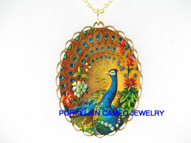 PEACOCK BIRD  LILY OF THE VALLEY CAMEO PORCELAIN NECKLACE