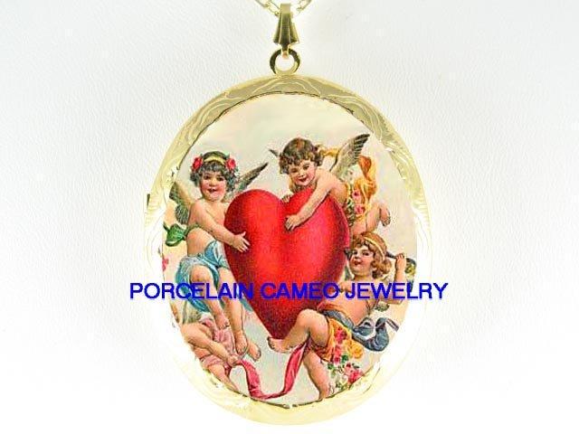 3 VICTORIAN ANGEL CHERUB VALENTINE HEART * CAMEO PORCELAIN LOCKET NECKLACE